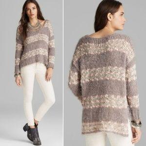 Free People Linus Stripe Fuzzy Sweater S